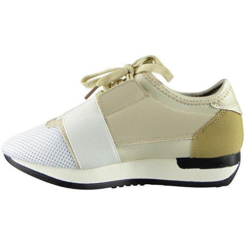 Damen Laufen Gym die Sportarten Spitze Oben Schuhe Größe 36-41 ALLE BEIGE