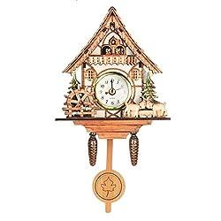 Vintage Mini Cuckoo Wall Clock Bird Time Bell Chic Swing Alarm Watch Decorations Home Wall Art