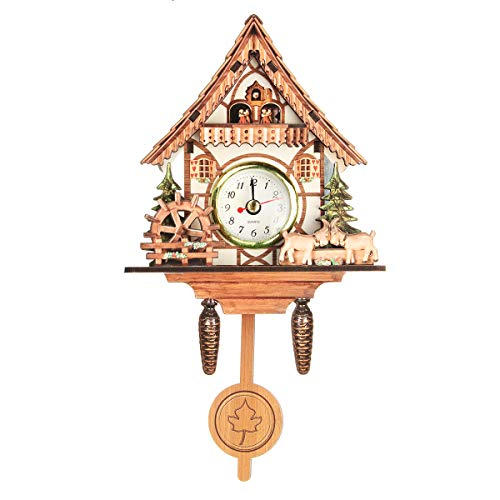 (Vintage Mini Cuckoo Wall Clock Bird Time Bell Chic Swing Alarm Watch Decorations Home Wall)