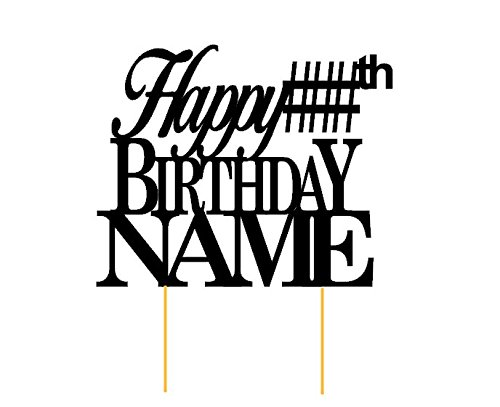 All About Details Customized Happy Birthday Cake Topper With AGE & NAME ()