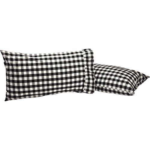 VHC Brands Farmhouse Classic Country Bedding Annie Buffalo Check Pillow Case Set of 2, Standard, Black