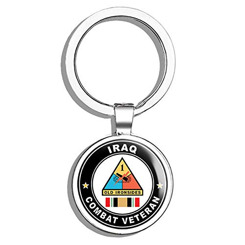HJ Media US Army 1st Armored Division Iraq Combat Veteran Operation Iraqi Freedom OIF Metal Round Metal Key Chain Keychain Ring