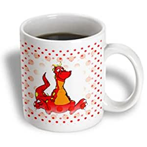 Florene - Childrens Art III - Print of Cartoon Red Orange Dragon On Matching Dots - Mugs - 11oz Mug - mug_193199_1