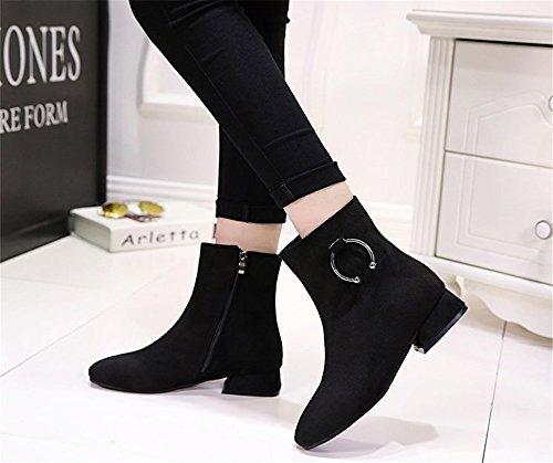 Femmes Et Bottes Noir Boots États Europe Carrées Nues Low Mode Avec Les unis Tmkoo 2017 L'automne Nouvelles Martin L'hiver wExwXqFp