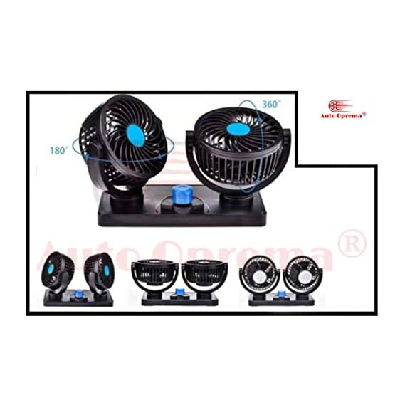 Auto Oprema Car Fan 12V 360 Degree Rotatable Dual Head 2 Speed Quiet Strong Dashboard Auto Cooling Air Fan