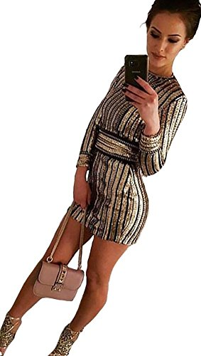 JessykaRobyn The Ivanka Long Sleeved Gold Sequin Stripe Gold Chain Link Mini Lace Up Belt Holiday Party Dress Black Stripe Chain Link