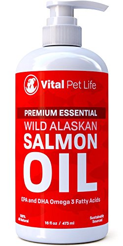 Dog Coat Supplement (SALMON OIL FOR DOGS, CATS & HORSES, Fish Oil Omega 3 Food Supplement for Pets, Wild Alaskan 100% All Natural, Helps Dry Skin & Allergies, Promotes Healthy Coat & Joints, Helps Inflammation, 16 oz)
