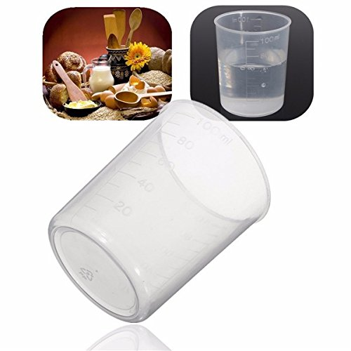 HOT 10Pcs 100ml Clear Cylindrical Plastic Graduated Measuring Jug Cups