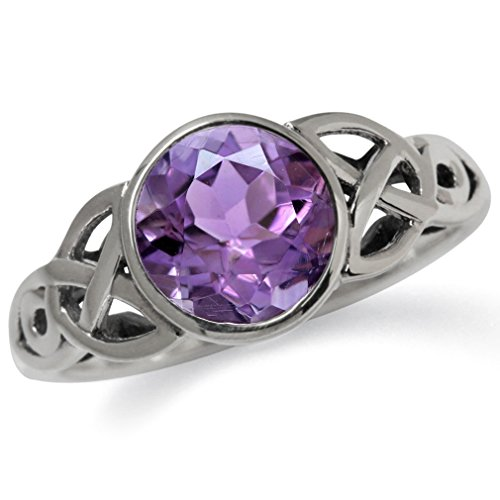 1.76ct. Natural Amethyst 925 Sterling Silver Triquetra Celtic Knot Solitaire Ring Size 12