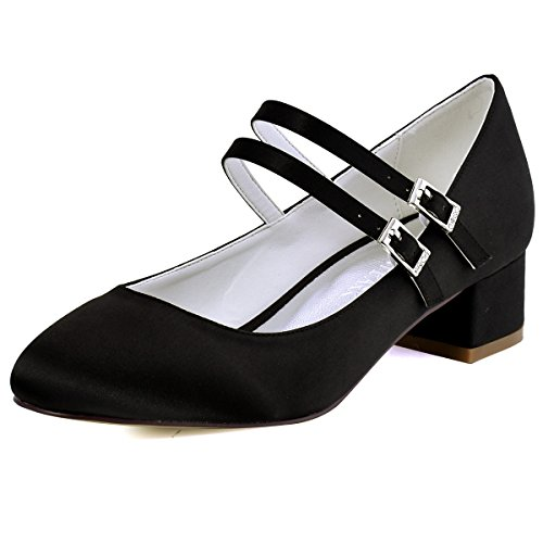 ElegantPark FC1615 Women Closed Toe Chunky Heel Mary Jane Pumps Satin Evening Wedding Dress Shoes Black US 9