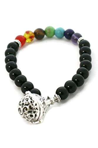 7 Chakra Essential Oil Diffuser Bracelet- Black Onyx Stone- Pendant -