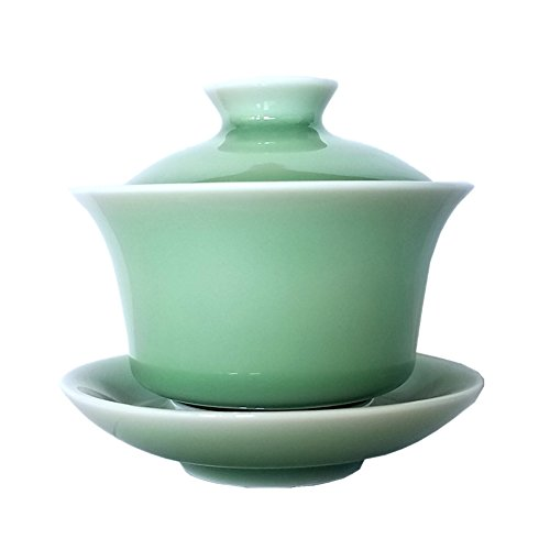 Gaiwan Kung Fu Teacups with Lid 5-Ounce Teacup and Saucer Set Porcelain Chinese Celadon(Green)