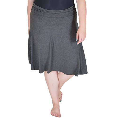 Stretch is Comfort Women's Plus Size Knee Length Flowy Skirt Charcoal Gray 3X