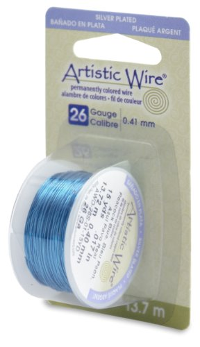 Artistic Wire 26-Gauge Silver Plated Peacock Blue Wire, 15-Yards