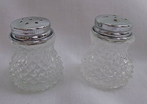 Vintage Miniature Hour Glass Shaped Crystal (Hobnail) Salt and Pepper Shakers (1.5