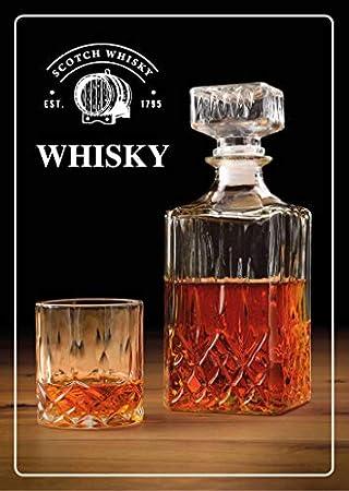 WOMA - Juego de jarra de whisky - Juego de 5 y 7 - Vasos de whisky + jarra de cristal para el excelente disfrute - 4 vasos de whisky Scotch [285 ml] + 1 jarra de whisky (900 ml) de cristal con tapa.
