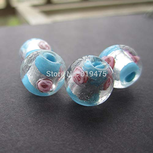 Pukido 20Pieces/Lot 12mm Lampwork Glass Beads Flower with Silver Foil Ocean Blue Color for Jewelry Making
