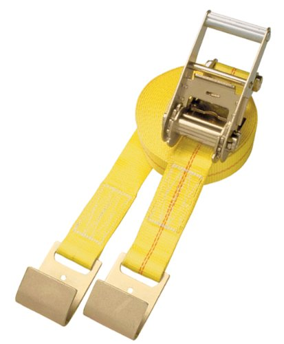 Security Chain Company CC2127 27 Yellow 2 Inline Ratchet Strap with Handle Ratchet and Flat Hooks