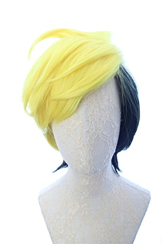 CosplayWigsCom: Human Bill Cipher Inspired Short Straight Two Tone Layered Yellow Black Wig Anime Cosplay Halloween Costume Wig for Men and Teens ()