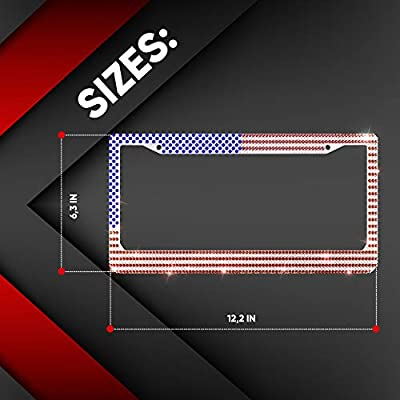 Rhinestone License Plate Frame with Premium Giftbox - Stainless Steel Waterproof Bling Car Tag Cover for US and Canada - Fit Front and Rear Registration Numbers - 1 Pack - USA Flag: Automotive