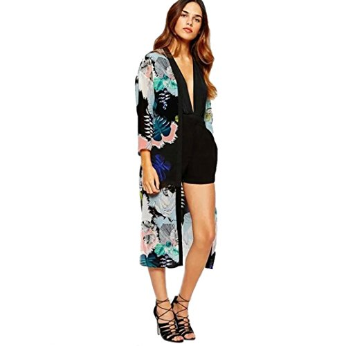Perman Women Boho Printed Chiffon Shawl Long Kimono Cardigan Cover up Blouse (XL)