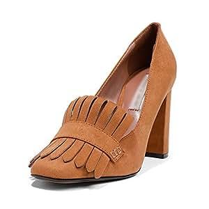 LIANGJUN Tacón Alto Mujer Zapatos Botines Moda, 2 Colores, 8 Tamaños Disponibles (Color : Yellow brown, Tamaño : EU37=UK5=L:235mm)