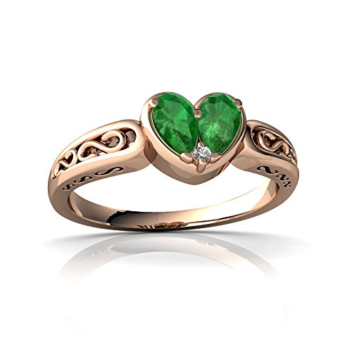 14kt Rose Gold Emerald and Diamond 5x3mm Pear filligree Heart Ring - Size 9