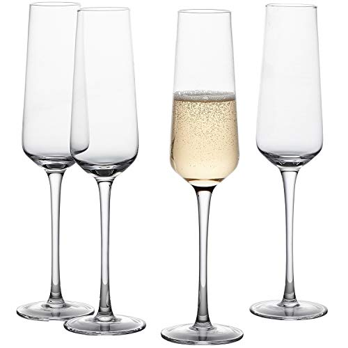 GoodGlassware Champagne Flutes (Set Of 4) 8.5 oz - Crystal Clear Clarity, Classic and Seamless Tower Design - Lead Free Glass, Dishwasher Safe, Quality Sparkling Wine Stemware Set