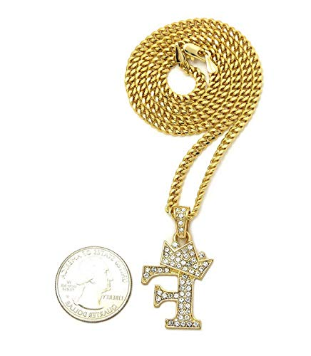 - Werrox ICED Out King Crown Letters Pendant 24 Cuban Chain Necklaces/Various Letters   Model NCKLCS - 4257   - XSP615G
