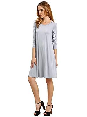 ROMWE Women's Long Sleeve Loose Casual Tunic T-Shirt Dress
