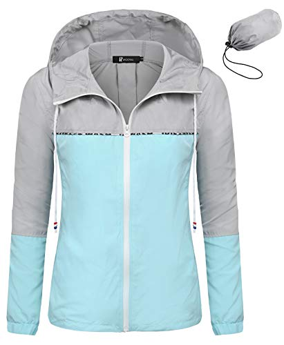 RAGEMALL Women's Waterproof Raincoats Packable Lightweight Windbreaker Active Outdoor Hooded Rain Jacket(Lake Blue,Large)