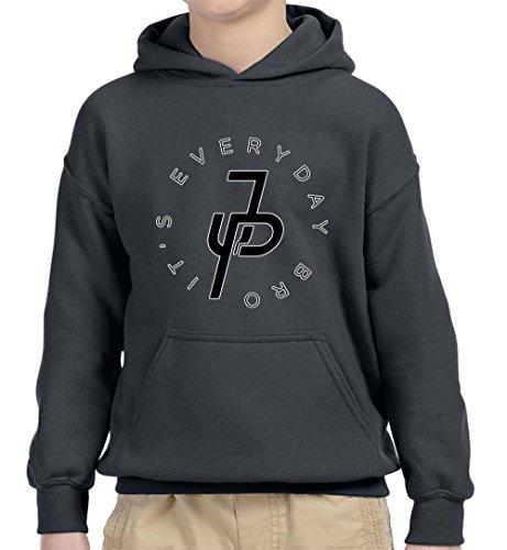 New Way 829 - Youth Hoodie It's Everyday Bro Jake Paul JP Logo Unisex Pullover Sweatshirt Large Charcoal -