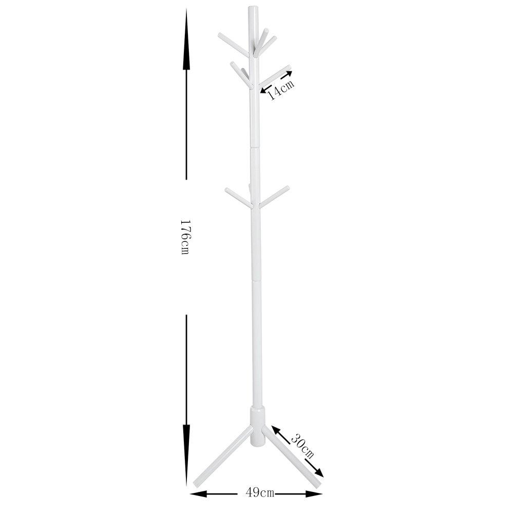 Perchero Percha, Ropa Perchero de Madera Perchero Chaqueta de Pie, con 9 Ganchos Triángulo de Apoyo a la Recepción Sala Dormitorio, 176 cm de Altura ...