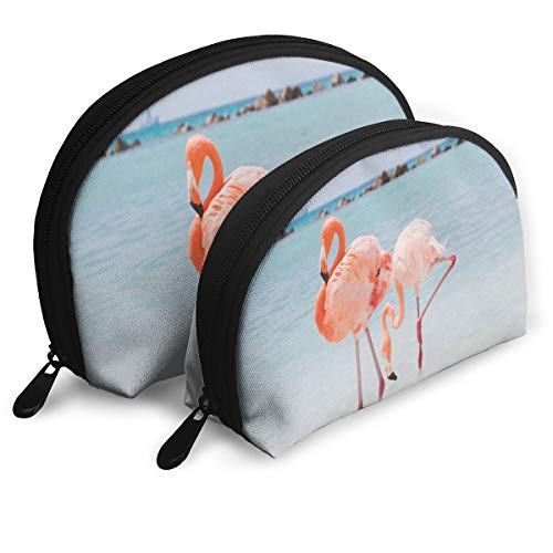Makeup Bag Pink The Town Amanda Losier Flamingo Beach Aruba Portable Shell Makeup Case For Girlfriend Halloween Gift 2 Pack -