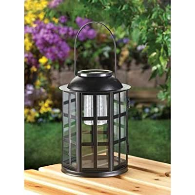 Garden Lantern Solar Powered Modern Decorative Light Colored Black Metal Material For Old Fashioned Home Ornament