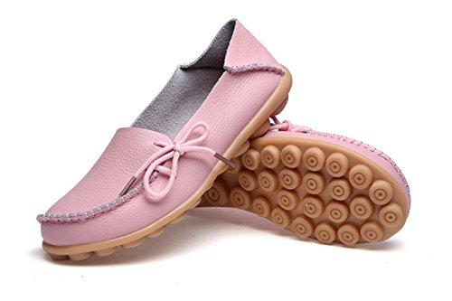 Kaleido New Size Version Scarpe Da Guida Da Donna In Pelle Di Vacchetta Casual Lace-up Fannulloni Scarpe Da Barca Rosa