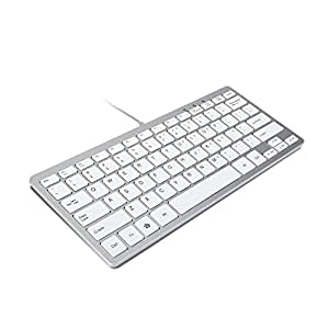 gmyle compact wired usb mini keyboard for pc metallic silver and white computers. Black Bedroom Furniture Sets. Home Design Ideas