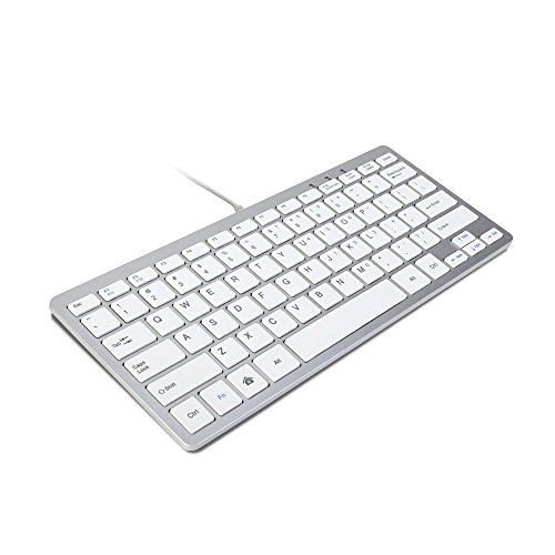 GMYLE Compact Wired USB Mini Keyboard for PC - Metallic Silver/White