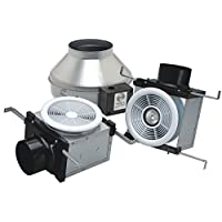 Fantech PB270FV-2 Inline Exhaust Fan, 270 CFM, Fluorescent Light & 1-Unlit Grille - for 4& 6 Duct