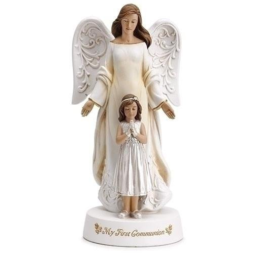 (My First Communion Guardian Angel with Praying Girl Statue, 7 3/4 Inch)