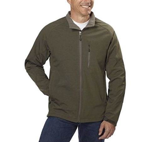 Kirkland Signature Mens Water-Resistant Soft Shell Jacket (Olive Grey Tweed, Large) - Soft Tweed
