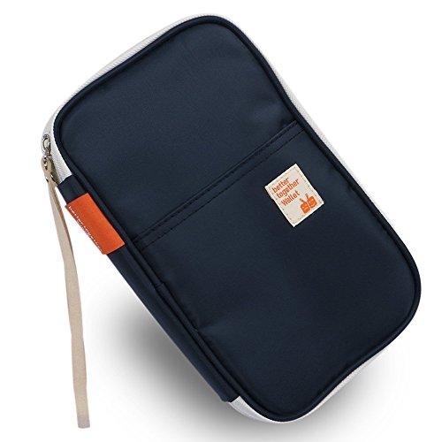 G2Plus Reisepasshüllen Reisebrieftasche Reisepass Ticket Tasche Dokumententasche Damen Herren Clutch Casual Handtasche 22cm * 13.5cm * 3.5cm (Blau)