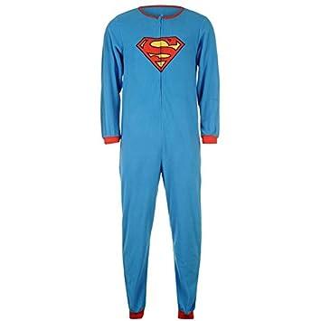 Producto oficial de Superman All In One superhéroe enterizo pijama para hombre diseño de cuadrados pijamas