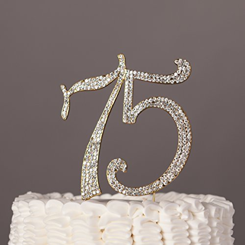 75 Cake Topper for 75th Birthday or Anniversary Gold Number Party Supplies Decorations (Gold)