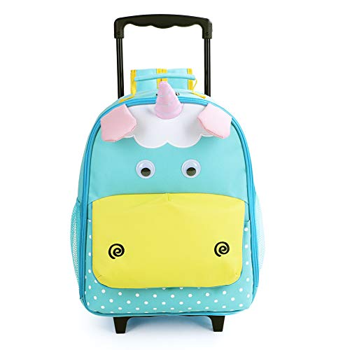 Hideaway Backpack Straps - Yodo 3-Way Toddler Backpack with Wheels Little Kids Rolling Suitcase Luggage, Unicorn