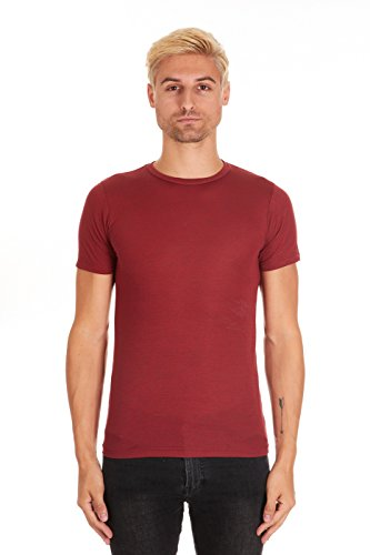- Pacific Men's Super Soft Rayon Short-Sleeve Crew-Neck T-Shirt (Large, Red Heather)