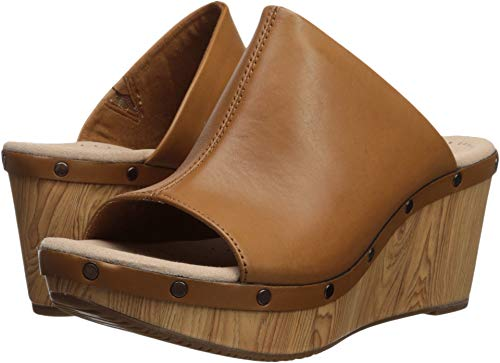 (CLARKS Women's Annadel Molly Wedge Sandal, tan Leather, 100 M US)
