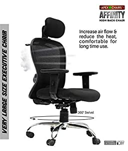 APEX Chairs Affinity Chrome Base HIGH Back Office Chair Adjustable ARMS and Anytime Lock Mechanism