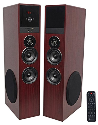 Rockville TM80C Cherry Powered Home Theater Tower Speakers 8'' Sub/Bluetooth/USB by Rockville