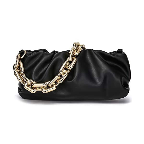 CATMICOO Chunk Chain Dumpling Bag Cloud Clutch Purse for Women with Ruched Detail